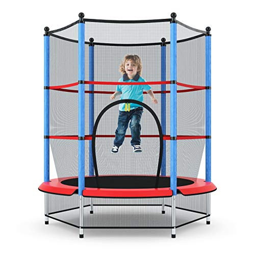 "Giantex 55"" Round Kids Mini Jumping Trampoline W/ Safety Pad Enclosure Combo (Multicolor) (Black+Blue+Red)"