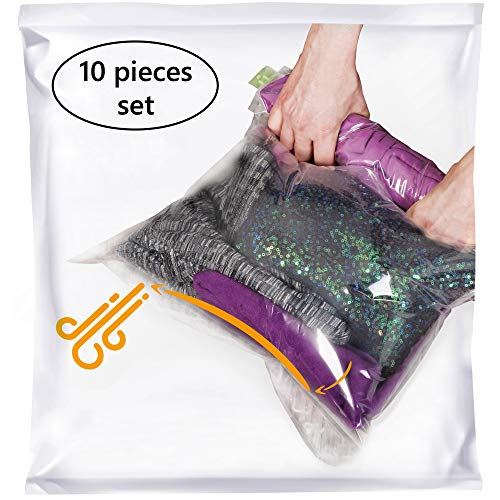 The Chestnut 10 Packing Bags for Travel 28x20 inch - No Vacuum or Pump Needed - Portable Vacuum Sealer for Clothes - Space Saver Compression Bags - Set of 10 L Sacks - Transparent