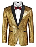 COOFANDY Men's Fashion Suit Jacket Blazer One Button Luxury Weddings Party Dinner Prom Tuxedo Gold Silver (Large, Golden Yellow)