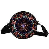 TIZORAX Hippie Mandala Power - Bolso bandolera circular pequeño para mujeres y niñas