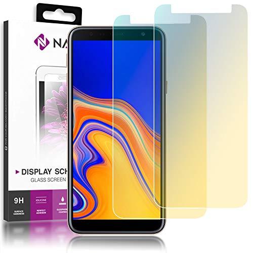 NALIA (2-Pack) Schutzglas kompatibel mit Samsung Galaxy J4 Plus, 9H Full-Cover Bildschirm Schutz Glas-Folie, Dünne Handy Schutzfolie Display-Abdeckung, Screen Protector Tempered Glass - Transparent