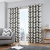 Fusion Chevron - Cojín Relleno de algodón, Color Terracota, algodón, Ocre, Curtains: 46' Width x 54' Drop (117 x 137cm)