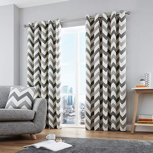 Fusion – Chevron – Copricuscino 100% cotone, Cotone, Ochre, Curtains: 66' Width x 90' Drop (168 x 228cm)