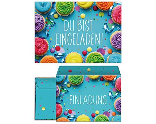JuNa-Experten 8 Einladungskarten inc. 8 Umschläge zum Kindergeburtstag Mädchen Jungen Muffins Cupcake Einladungen zum Geburtstag