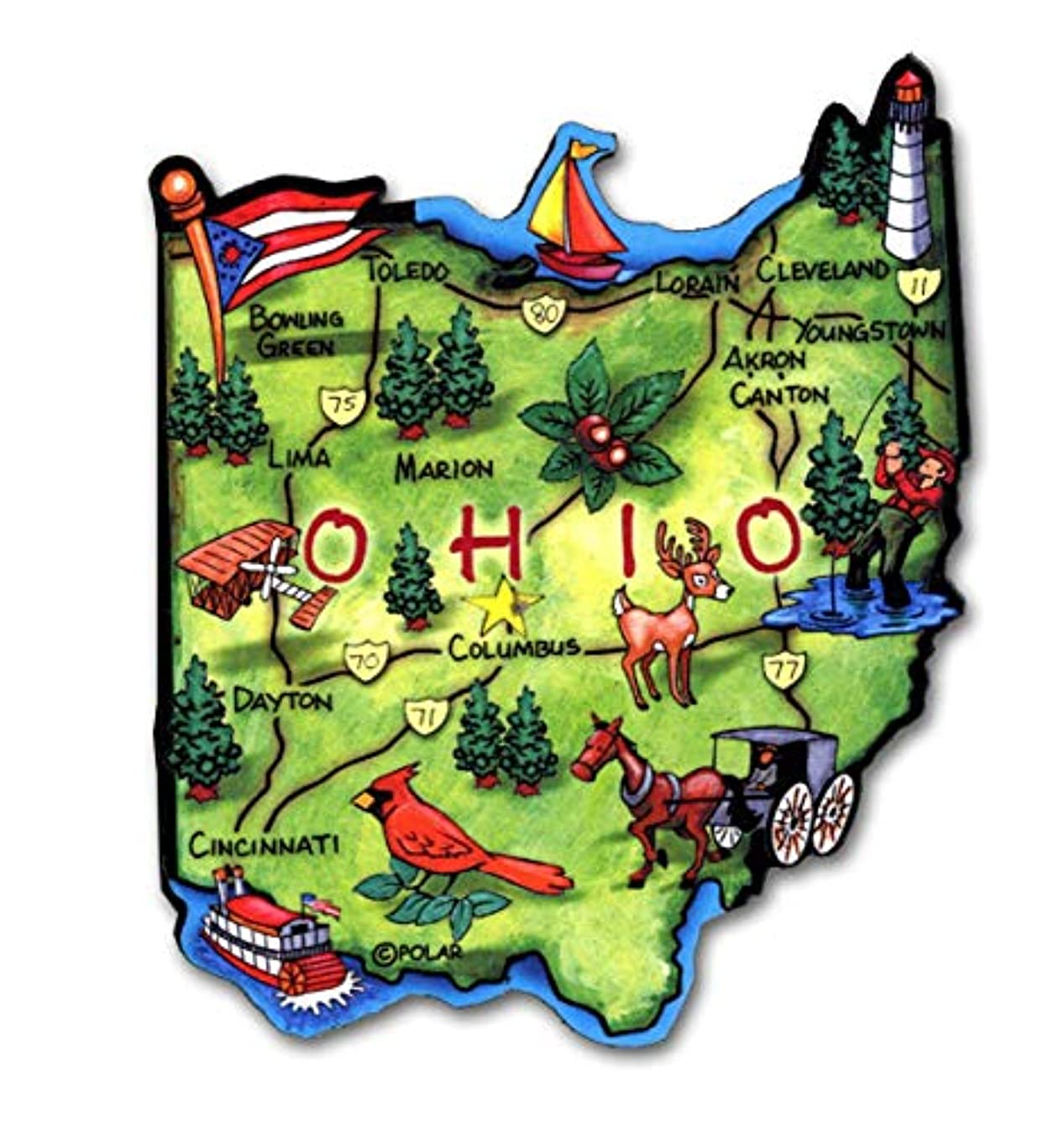 Ohio the Buckeye State Artwood Jumbo Fridge Magnet