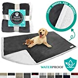 PetAmi Waterproof Dog Blanket for Bed, Couch, Sofa | Waterproof Dog Bed Cover for Large Dogs, Puppies | Grey Sherpa Fleece Pet Blanket Furniture Protector | Reversible Microfiber | 80 x 55 (Charcoal)