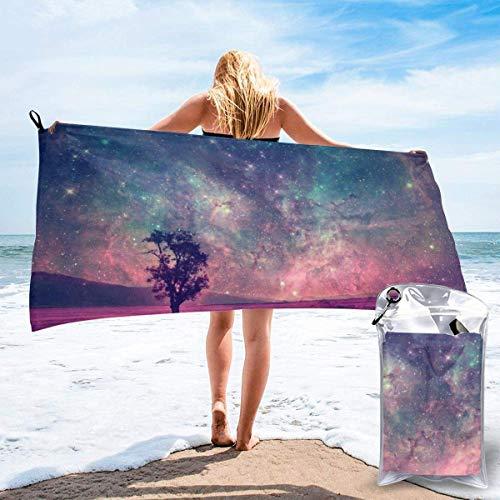 Toallas de Playa sin Arena Starry Sky Tree Toalla de baño súper Absorbente de Secado rápido para Nadar y al Aire Libre, Toalla de Yoga portátil para niños Adultos
