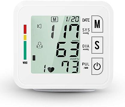 LCD Digital muñeca presión arterial Monitor blanco Medidor de frecuencia cardíaca eléctrica Medición de memoria con pulsera Cuidado de la salud para uso en el hogar Baterías incluidas: Amazon.es: Hogar