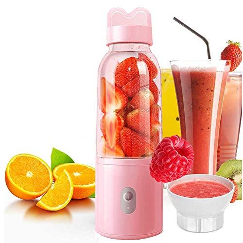 Mini Blender/Portable Juicer Cup 500ML Mixer per estrattore di Succo di Frutta con 4 Lame USB Ricaricabile, per Esterni da casa, Rosa