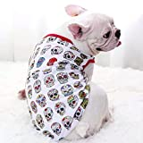 N/A Pet Dog Spring And Summer Clothes Summer French Bulldog T-Shirt Vest Skull Print Pet Clothing Small Medium Dog Clothes Warm Spring And Summercoat Suit For Pet Holiday Birthday Gift