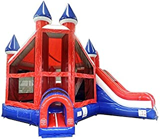 TentandTable Patriotic Deluxe Castle Bounce House and Slide Combo - 19'L x 15'W x 16'H - Inflatable Commercial Backyard Bouncer - Includes 1.5 HP Air Blower & Ground Stakes
