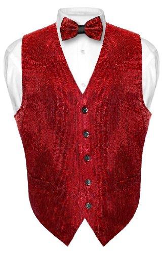 Men's SEQUIN Design Dress Vest & Bow Tie RED Color BOWTie Set size Large
