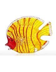 Mainstayae الزجاج الأصفر الأسماك النفخ باليد فن الزجاج البحرية الأصفر الأسماك وزن الورق ديكور تمثال ديكور المنزل