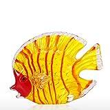 Hylotele Tooarts Deko Fisch, Glas gelb Fisch mundgeblasenem Glas Kunst Marine gelb Fisch Briefbeschwerer dekorative Figur Wohnkultur