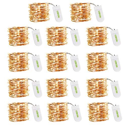 14 Piezas Luces LED Cadena, LEDGLE Guirnalda Luces Pilas 3M 30 LEDs Blanco Cálido 3000K, Cadena de Luces LED Habitacion para Navidad, Ventanas, Bodas, Fiesta, Interior