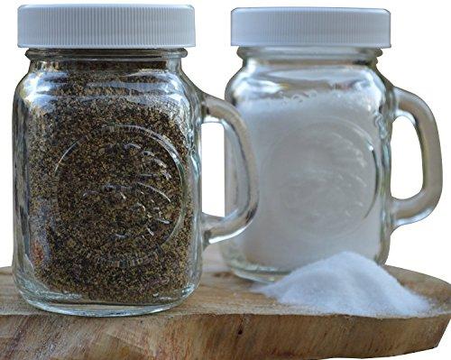 Golden Harvest Ball Mason Jar Glass Salt and Pepper Shakers