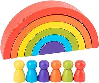 Tomaibaby 1 Set Houten Regenboog Stapelspel Met Kleine Mensen Creatief Gebouw Kleurvorm Bijpassende Educatieve Puzzel Educ...