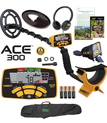 Garrett ACE 300 Metal Detector with Waterproof Search Coil and Carry Bag Plus Free Accessories