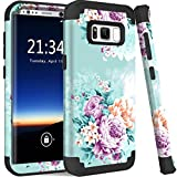 PIXIU for Galaxy S8 case, Shockproof Hybrid High Impact Hard Plastic Soft Silicon Rubber Armor Protective case Cover for Galaxy s8 2017 Release Peony