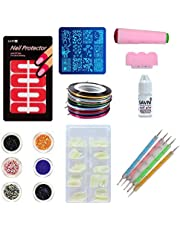 SAVNI combo of 100 pcs of Nail extensions ,5 dotting tool , nail art 5 striping tapes , 6 different glitters , stamping design plate , stamp and scrapper , nail protector tips and 1 pc of 3gm Savni nail glue