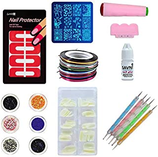 SAVNI combo of 100 pcs of Nail extensions ,5 dotting tool , nail art 5 striping tapes , 6 different glitters , stamping de...