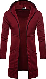 2018 Mens Hooded Solid Trench Coat Jacket Cardigan Long Sleeve Blouse