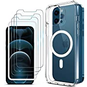WAITIEE Magnetic Clear Case for iPhone 12/12 Pro, Clear Silicone Fast Wireless Charging Anti-Fall Scratch Ultra Slim Case with Mag-Safe Charging 3 Packs Premium Tempered Glass and Installation Frame