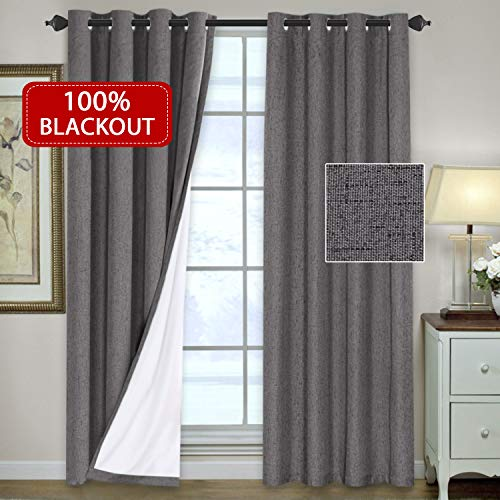 H.VERSAILTEX 100% Blackout Thermal Curtains Bedroom Energy Efficient Lined Blackout Drapes Living Room Window Treatment Set 52 x 96 inches Curtain Panel Grommet Top, Grey, Sold Pair