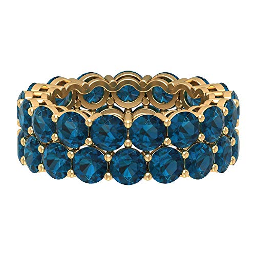 Anillo de boda de doble fila, anillo de topacio azul de 9 quilates, anillo de piedra natal de diciembre, anillo de banda ancha, anillo de aniversario, 18K Oro amarillo, Size:EU 58