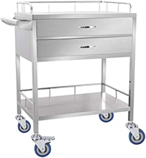 Lsak Standing Shelf Units KKYY Medical Carts, Stainless Steel Trolley with Drawers Heightening Guardrail, Medical Equipment Trolley, Mobile Care Car- Single/Double Layer 664488cm