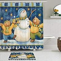 GEEVOSUN シャワーカーテン バスマット 2点セット 冬のキッズフェスティバルの雪降る夜空で踊る雪だるまと熊 自家 寮用 ホテル 間仕切り 浴室 バスルーム 風呂カーテン 足ふきマット 遮光 防水 おしゃれ 12個リング付き