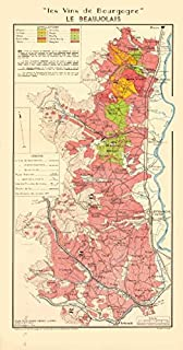 Burgundy Bourgogne Wine MAP Beaujolais appellations. Fleurie Brouilly LARMAT - 1953 - Old map - Antique map - Vintage map - Printed maps of France