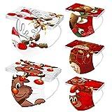Xinantime 50 Stück 3 Lagig Einmal-Mundschutz für Damen Männer, Erwachsene Mündschutz mit Motiv Weihnachten Bunt Mund-Nasen-Schutz Atmungsaktiv Bandana Halstuch (K01)