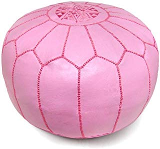 """Mina Stuffed Moroccan Leather Pouf Ottoman, Many Colors Available, 20"""" Diameter and 13"""" Height (Pink)"""