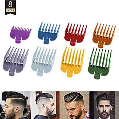 Universal Hair Clipper Attachments Comb,Professional Hair Trimmer/Clipper Color Coded Cutting Guides/Limit Combs for Electric Hair Trimmer Shaver (8Pcs) from SUNNee