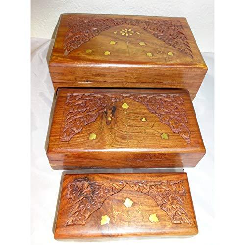 1a-becker 3er Set Holzboxen aus Sheesham Holz mit Messing Intarsien Truhe Schmuckschatulle Kiste