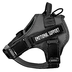voopet Service Dog Harness, No-Pull Emotional Support Pet Vest Harness, Reflective Breathable and Adjustable Pet Halters for Small Medium & Large Dogs (with 4 PCS Removeable Tags)