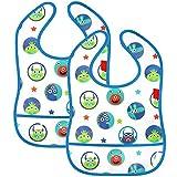 com-four® 2x Lätzchen für Babys in blau, wasserdicht und abwaschbar mit Klettverschluss und durchsichtiger Tasche an der Unterseite (2 Stück - blau)