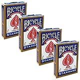 Shop4top 4 barajas de Bicycle Rider Back Standard Índice, cartas de trucos mágicos, color azul
