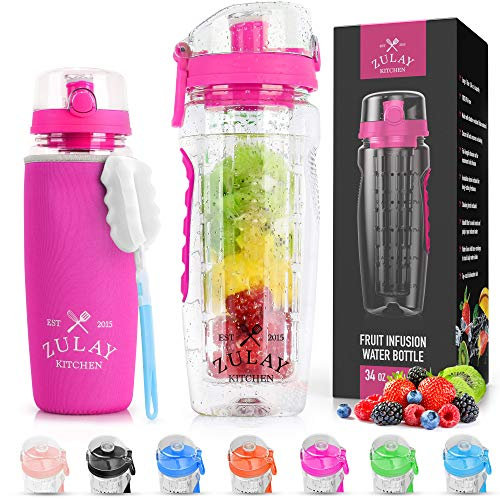 Zulay (34oz Capacity) Fruit Infuser Water Bottle With Sleeve - BPA Free Anti-Slip Grip & Flip Top Lid Infused Water Bottles for Women & Men - Water Infusion Bottle With Cleaning Brush - Flamingo Pink