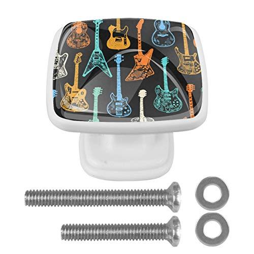Perillas de cajón Tiradores Manija Herrajes para armarios Cómoda de vidrio Cajones Gabinete de puerta para oficina en casa Armario de cocina Colección colorida de guitarras