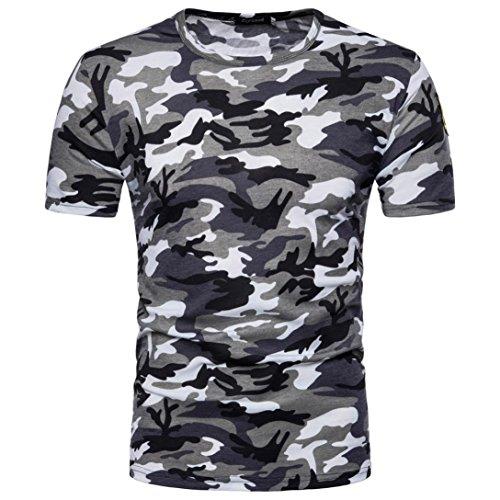 LHWY Shirt Herren, Männer Casual Kurzärmeliges Druck Tops T-Shirt Pullover Rundhals Sport Training Fitness Bekleidung Sommer Mode Freizeit Streetwear Camouflage Bluse (M, Grau)