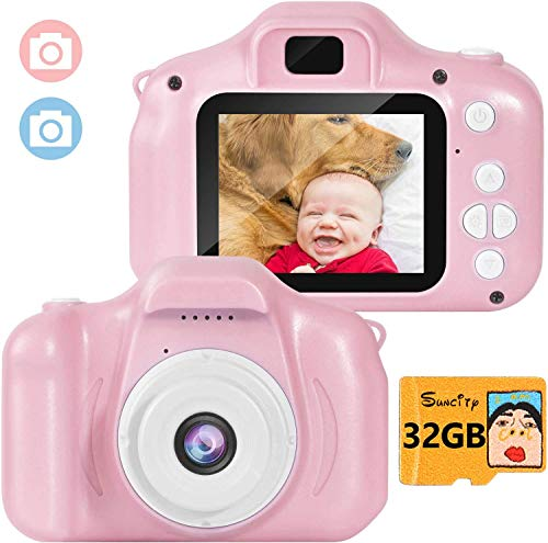 Suncity Girl Toys Gifts Kids Camera Digital for 2 3 4 5 6 7 8 Year Old Birthday Holiday Present Camcorder 2 Inch Screen with 32GB Card for Children Toddler (Pink)