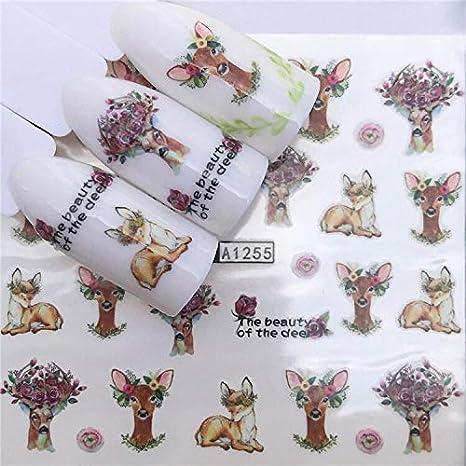 Amazon.com: Nail Sticker Water Decals Elephant Lion Animal Leaf Slider Art Design Decoration accessoires Manicure Lacquer Foils Adhesive - (Color: White) : Beauty & Personal Care