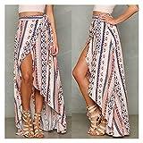 chushi Vestidos de Mujer Cintura Alta Boho Impresión Largas Mujeres Dividir Falda Maxi Falda Floral Playa Playa Chic Chic Étnico Verano Vestido de Novia Zzib (Color : Pink, Size : One Size)