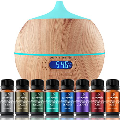 ArtNaturals Essential Oil Blends and Diffuser Set – (8 x 10ml Oils, 400ml Tank) – Aromatherapy Gift Set – Bluetooth Diffuser with LED Light and Auto Shut Off – for All Rooms