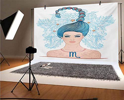 Zodiac Scorpio - Fondos de vinilo para fotos (10 x 8 pies), diseño de la joven astrología con pelo azul como cola de escorpión y detalles florales para fotos de fiesta de cumpleaños