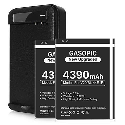 LG V20 Battery, 2X 4390mAh Li-ion Battery Replacement with Charger for LG V20,S996, H910, H918, VS995, LS997, VS995, H990T, H990N Dual, H990DS Dual, F200L | V20 Spare Battery [1 Year Warranty]