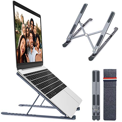 JUNEU Laptop Stand, Ergonomic Portable Laptop Riser with 8 Levels Height Adjustment, Aluminum Adjustable Laptop Stand Holder Compatible with MacBook, HP, Dell, More 11-17.3' Laptops, Tablet…