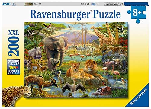 Ravensburger- Puzzle 200 pièces XXL Animaux de la Savane Enfant, 4005556128914